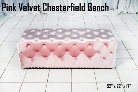 Pink Velvet Chestefield Bench