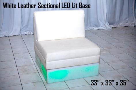 White Leather Sectional LED Lit Base