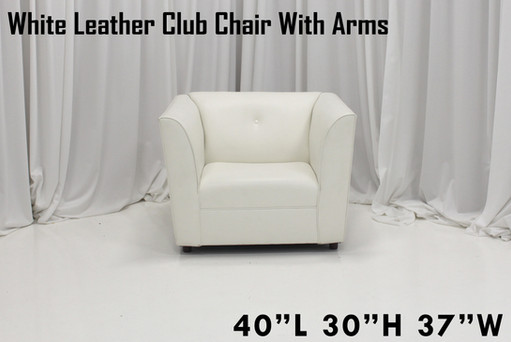 White Leather Club Chair With Arms