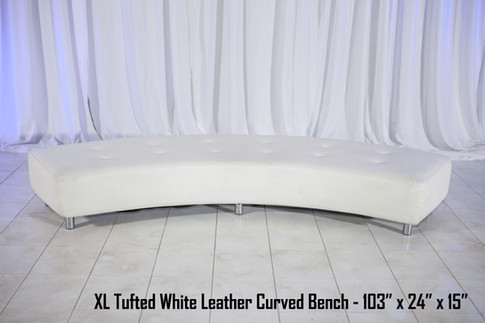 XL Tufted White Leather Curved Bench