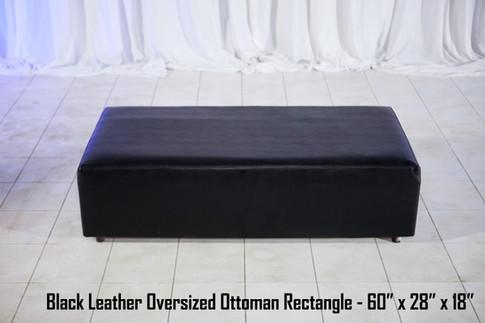 Oversized Black Leather Ottoman Rectangle