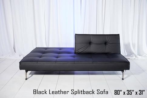 Black Leather Splitback Sofa Half Up