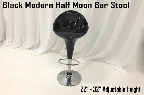 Black Modern Half Moon Bar Stool