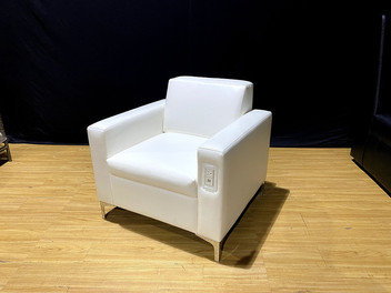 White Leather Miami Chair - Charging Chair