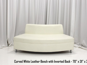 White Leather Curved Bench with Inverted Back
