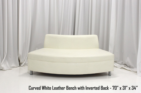 Curved White Leather Bench with Inverted Back