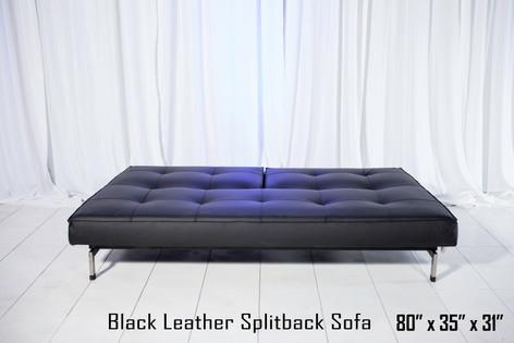 Black Leather Splitback Sofa Down