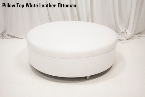 Pillow Top White Leather Ottoman