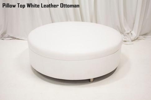 Pillow Top White Leather Ottoman