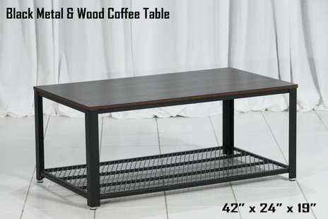 Black Metal and Wood Coffee Table