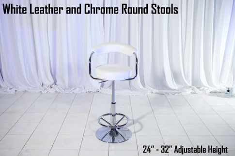 White Leather and Chrome Round Stools