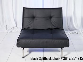 Black Leather Splitback Chair