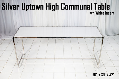 Silver Uptown High Communal Table White Insert
