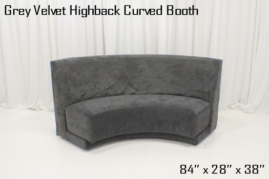 Grey Velvet Highback Curved Booth