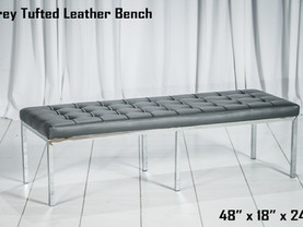 Grey Tufted Leather Bench