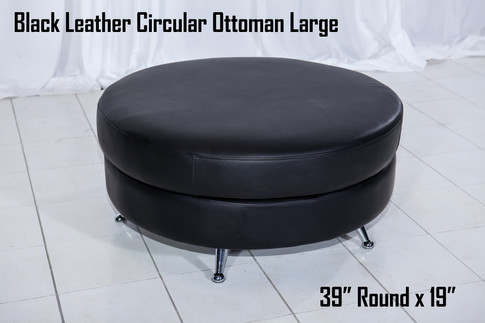 Black Leather Circular Ottoman Large