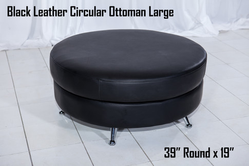 Black Leather Circular Ottoman Large