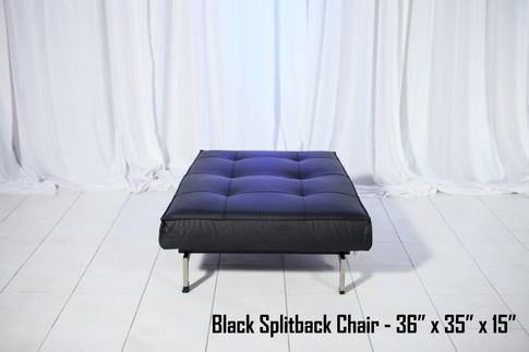 Black Leather Splitback Chair Flat