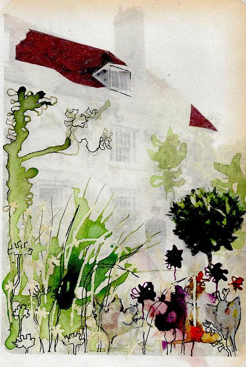 A5 artwork of Virginia Woolf in the garden at Charleston