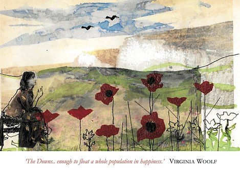 Virginia Woolf, the South Downs. Pack of 5 cards