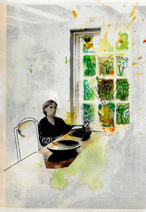 A5 artwork of Virginia Woolf at Monks House