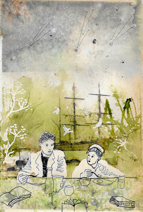 Artwork: Maurice & the Traveller have breakfast in the garden