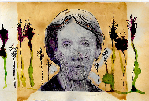A5 artwork of Virginia Woolf on the South Downs 5