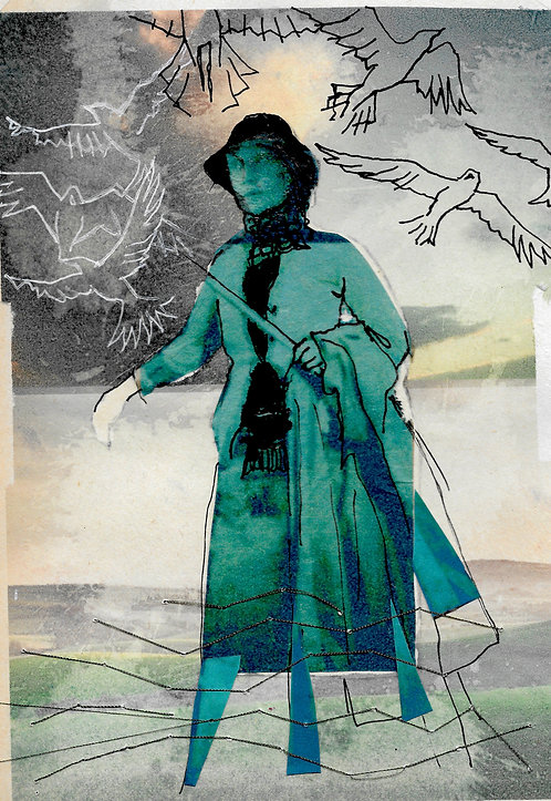 A5 artwork of Virginia Woolf on the South Downs 3