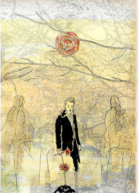 Artwork: Samuel Palmer at the grave of William Blake, Bunhill Fields