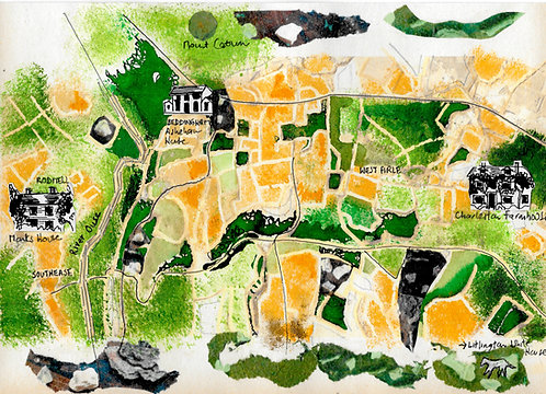 A4 artwork showing a map of the South Downs, from Monks House to Charleston