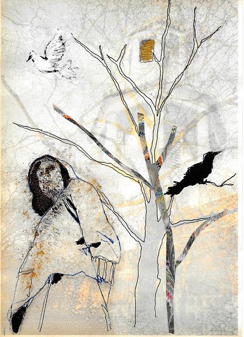 Artwork: Virginia Woolf in Tavistock Square with dove