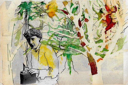 A5 artwork of Virginia Woolf on the South Downs 1