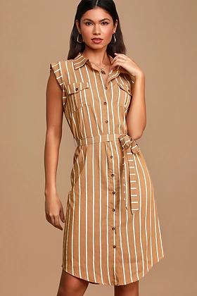 STRIPED BUTTON DRESS