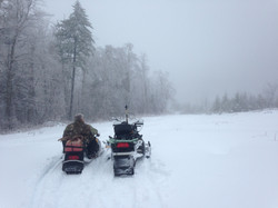 Snowmobile in the wilderness