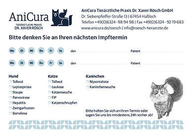 AniCura Tierärztliche Praxis Dr. Xaver Rösch Hassloch - Impfterminkarten