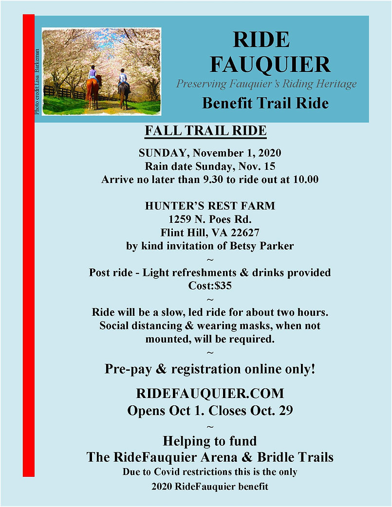 RideFauquier Betsy P Trail ride 11.1.20