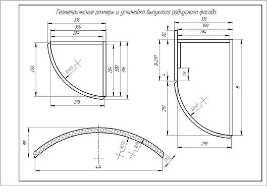 Выпуклый радиусный фасад, геометрические размеры выпуклого радиусного фасада