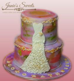 Wedding dress cake-4