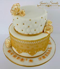 gold Lace Bridal Shower Cake