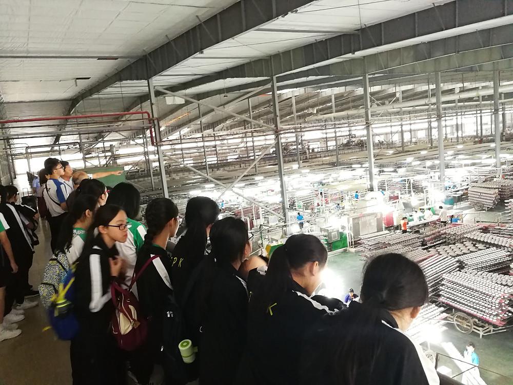 香港中學生參觀由香港企業在江門投資的陶瓷餐厨用品製造廠車間。