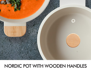 Nordic pot with wooden handle