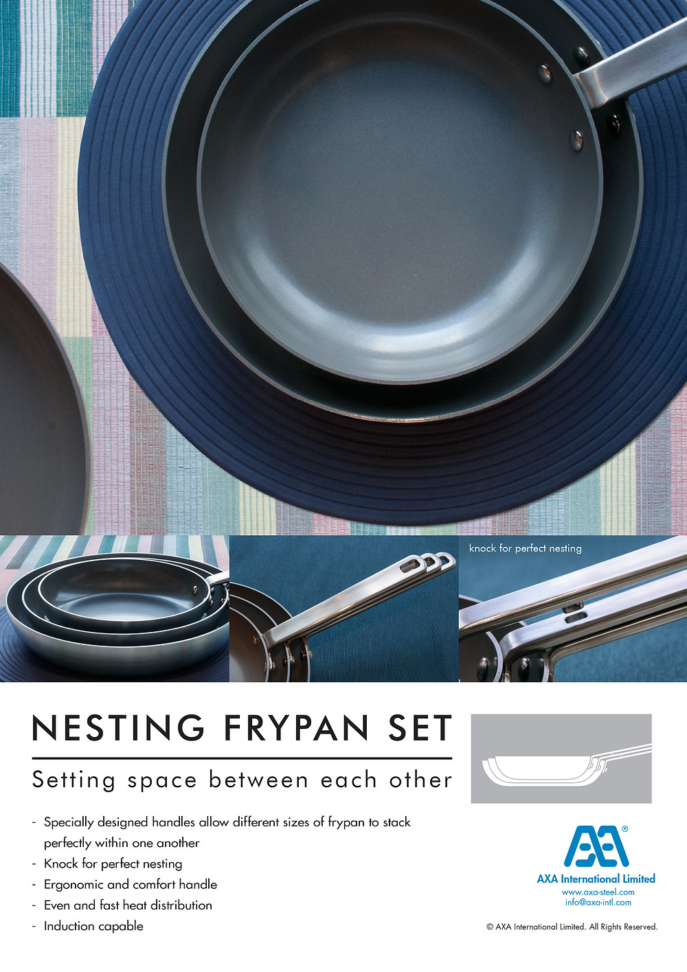 NESTING FRYPAN SET - Setting space between each other