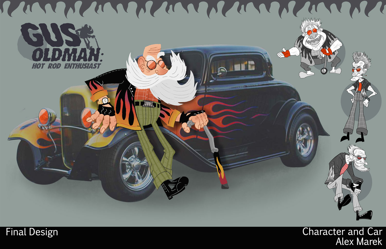 """Gus Oldman"" Character with Car"