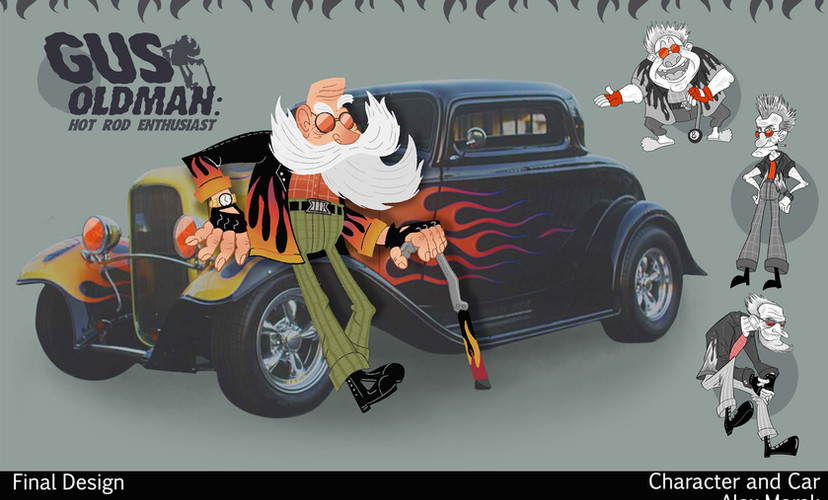 """""""Gus Oldman"""" Character with Car"""