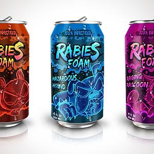 Rabies Foam Soda Cans