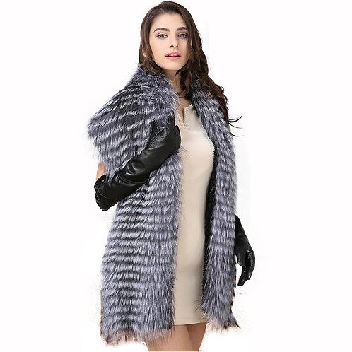 DMB79C Silver Fox Fur Lady Shawl
