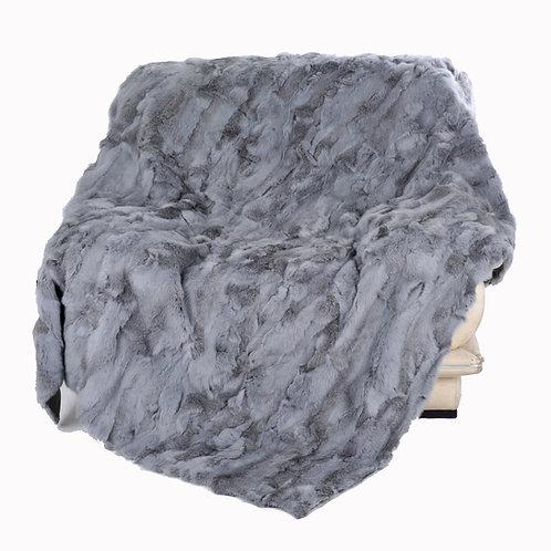 DMD11B Patchwork Rabbit Fur Blanket / Throw in  Grey