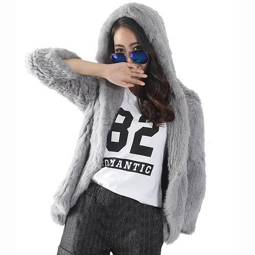 DMGA19 Knitted Rabbit Fur Hoody In Grey