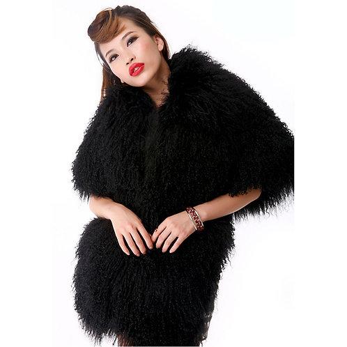 Black / White Mongolian Fur Wrap
