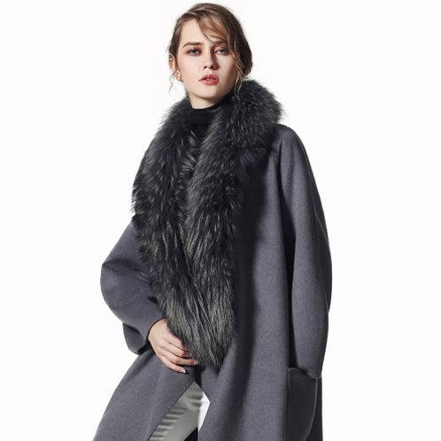 Grey Large Detachable Finn Raccoon Fur Collar